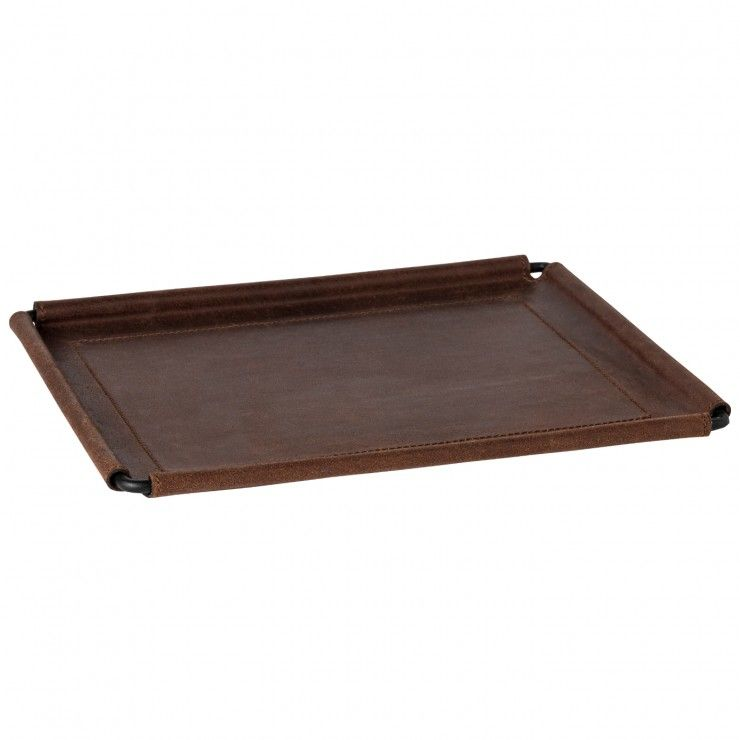 """LEATHER RECT. TRAY 12"""" LEATHER COLLECTION"""